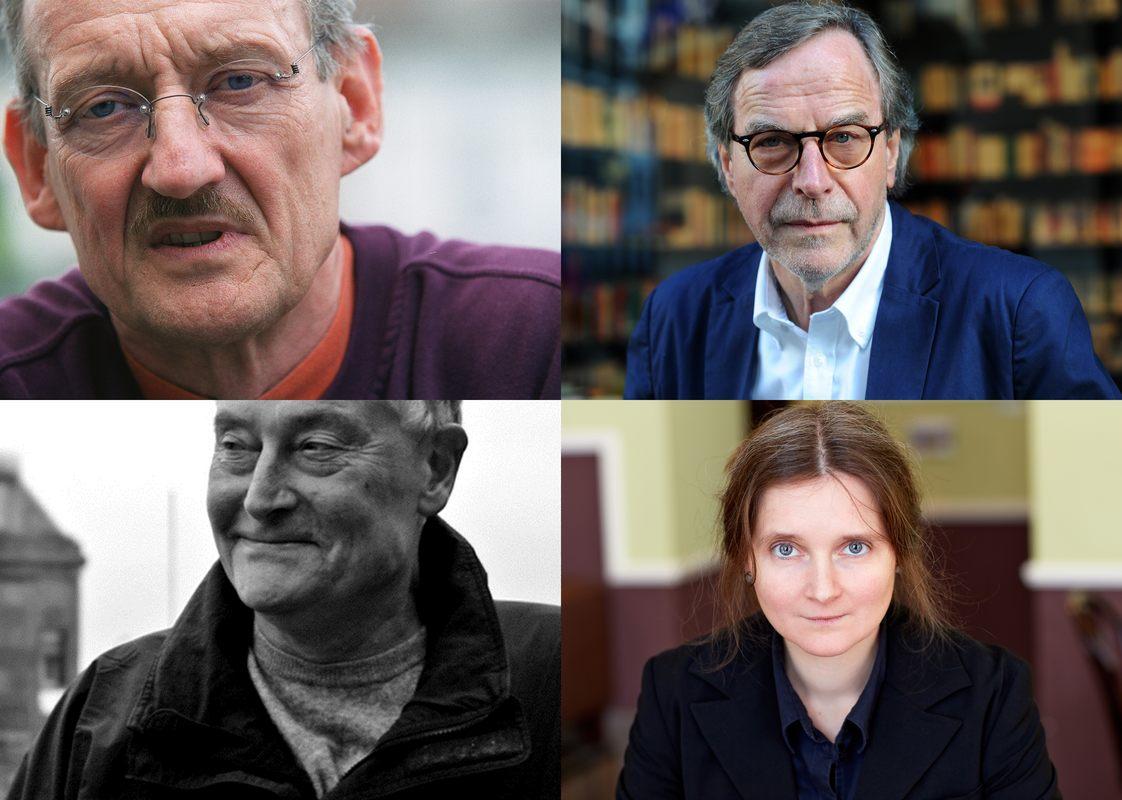 Die Schriftsteller Christian Haller, Klaus Merz, Hermann Kinder und die Schriftstellerin Marion Poschmann (Ateliergast Literaturhaus) haben aus ... - i_20150113-162806-165